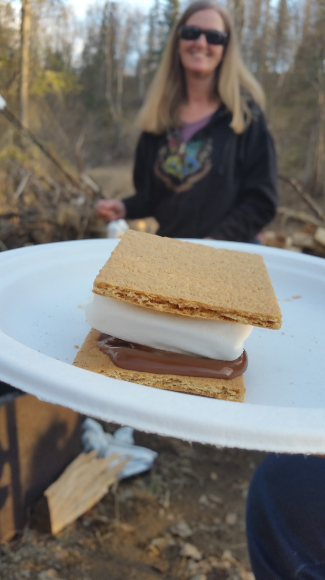 The year's first s'mores! The square marshmallows were perfect! No more round ones for this family!